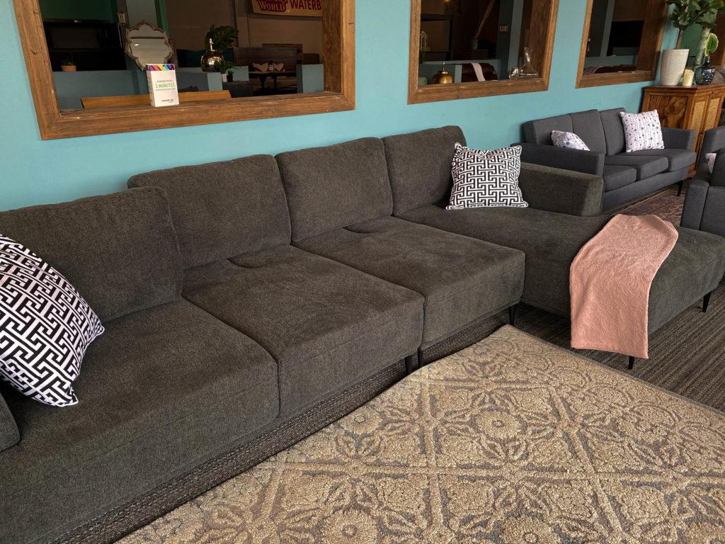 U-Shaped Black Sectional Sofa