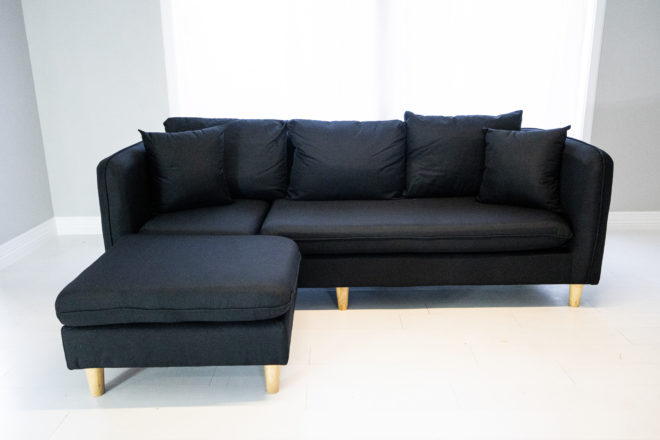 A small reversible sectional sofa. Looks super comfy.